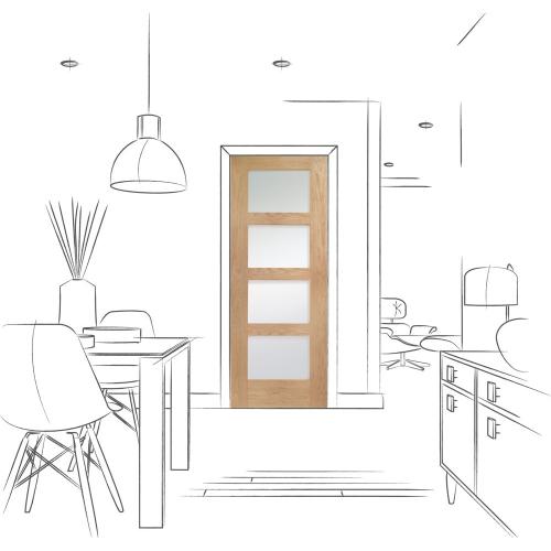 Shaker-4-Light-Pre-Finished-Internal-Oak-Door-with-Obscure-Glass